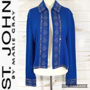 St. John by Marie Gray embroidered cardigan sz 12